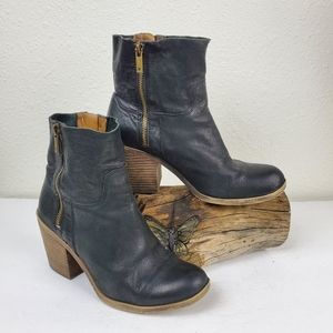 Lucky brand stacked heel distressed moto boots